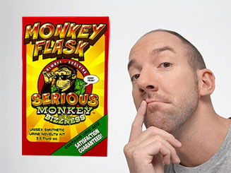 Man thinking about Monkey Flask Synthetic Urine by Serious Monkey Bizzness