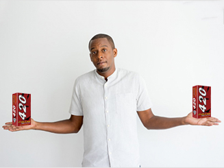 man holding a two 420 p clcean product