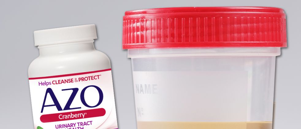 Azo Cranberry Pills product and urine sample